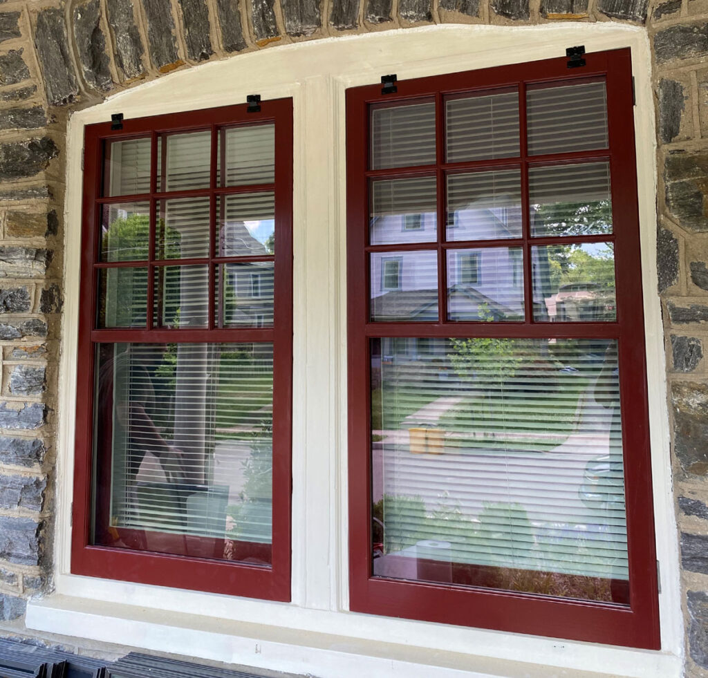 Two Simulated Divide Lite Wood Storm Windows